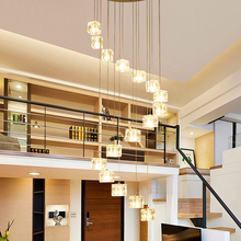 Double staircase long pendant lamp Nordic restaurant creative  Pendant Lights modern living room bar crystal glass lamps light