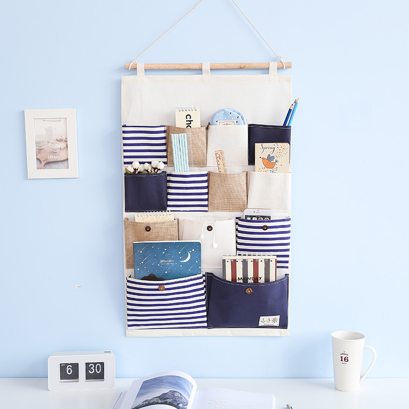 new striped wall type Multifunction cloth jewelry key Closet durable door handbags door finishing hanging organizer storage bag