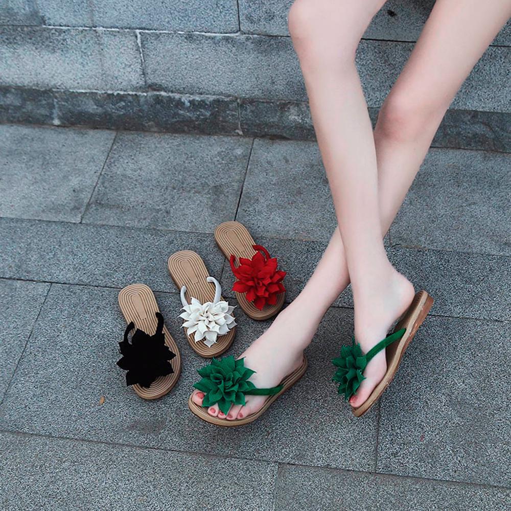 Women Fashion Summer Roma Flower Flat Anti-Slip Slipper Beach Casual Shoes