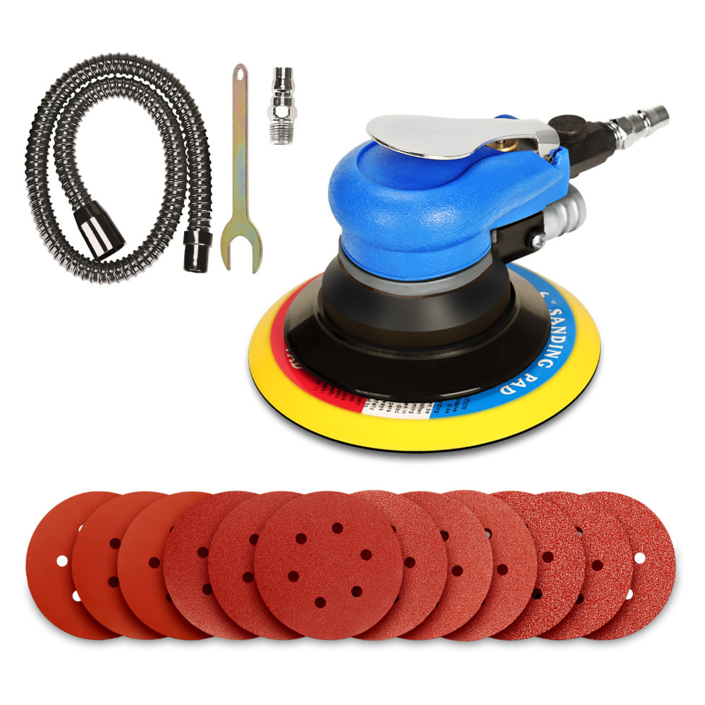 SPTA 6Inch Air Random Orbital Dual Action Sander Orbit Polisher Sanding Grinding Tools Pneumatic with Sanding Discs Paper Pad spta 5pcs polishing buffing pad 4 100mm mix color kit for 3 inch backing ro da air polisher random orbit dual action polisher