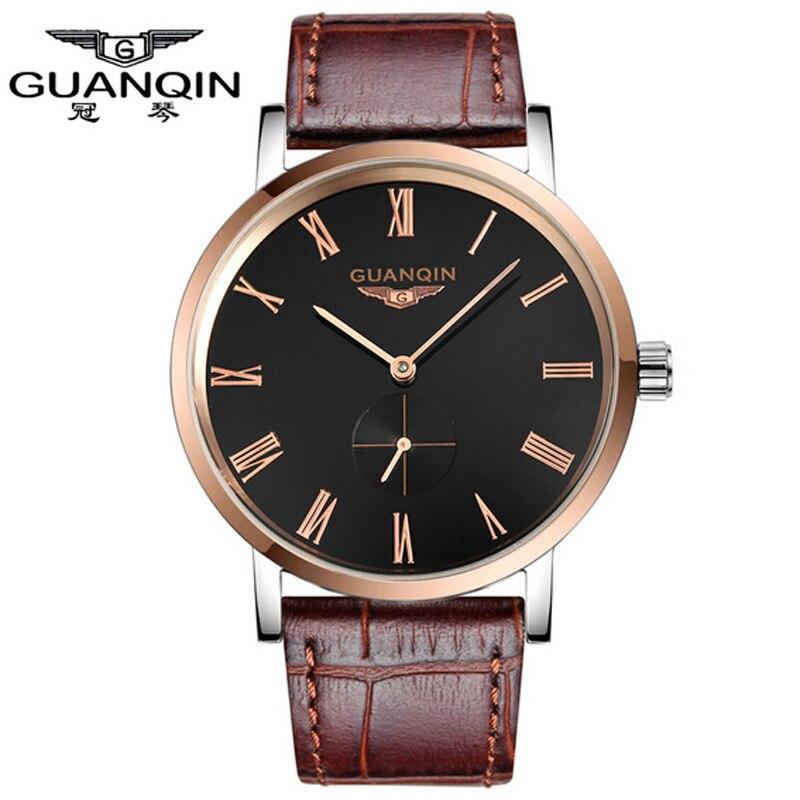 ФОТО Rose Gold Watch GUANQIN Watch Casual Mens Watches 2016 Slim Design Men Watch 30 m Waterproof Man Clock Wristwatches for Men