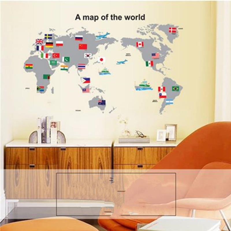 Decoratieve Muursticker DIY Wereldkaart PVC Sticker Show Window ...
