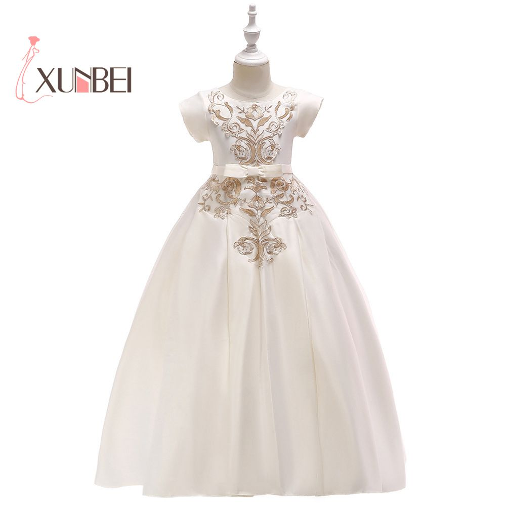 Cute Ivory O-Neck   Flower     Girl     Dresses   2018 Pageant   Dresses   For   Girls   Ball Gowns For   Girls   Lace Communion Princess   Dress