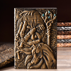 Image 4 - Vintage Magazine cahier Magazine carnet de croquis journal daffaires livre Style médiéval sculpté à la main magicien cadre en relief profond