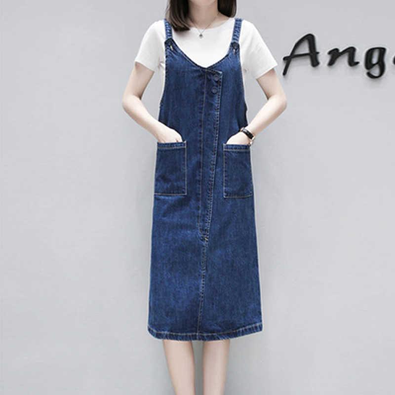Новое летнее джинсовое платье для женщин 2019, плюс размер, Хлопковое платье, джинсы с карманами, Свободный Повседневный комплект из 2 предметов, платья на бретелях + футболка, Vestidos HS239