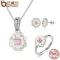BAMOER Genuine 100 925 Sterling Silver Jewelry Set White Flower Pink Clear CZ Jewelry Sets Wedding