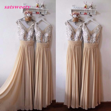 Satsweety Custom Color New Arrival Styles Long Chiffon A Line Pleated Bridesmaid