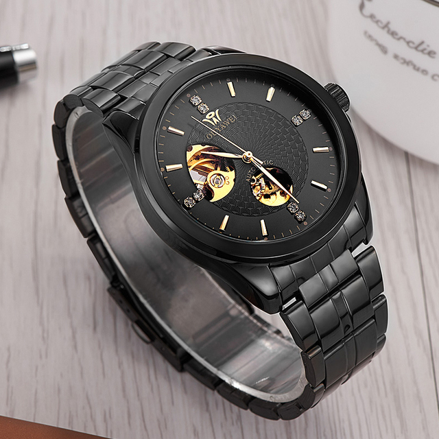 Ouyawei 2017 Fashion Mens Black Automatic Watch Men Mechanical Black Full Metal Self widing Watches relogio automatico masculino