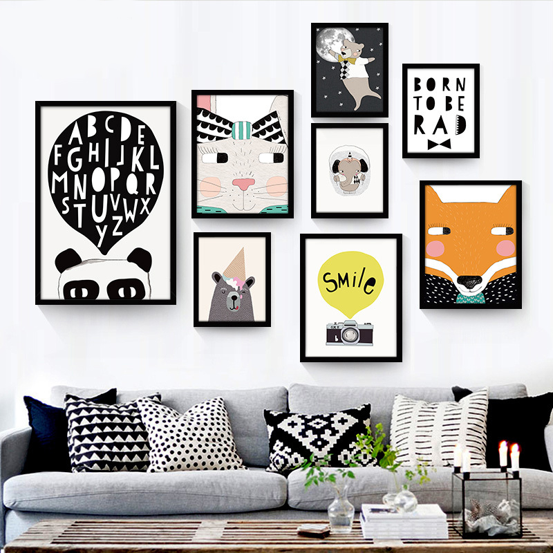 Nordic Decoration Cartoon Animal Canvas Painting A4 Posters and Prints For Children's Living Room No Frame Affiche Wall Art