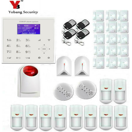 YobangSecurity Wireless WIFI GSM Home Security System Alarm Wireless Siren Smoke Detector Glass Break Sensor iOS Android App wireless alarm accessories glass vibration door pir siren smoke gas water sensor for home security wifi gsm sms alarm system