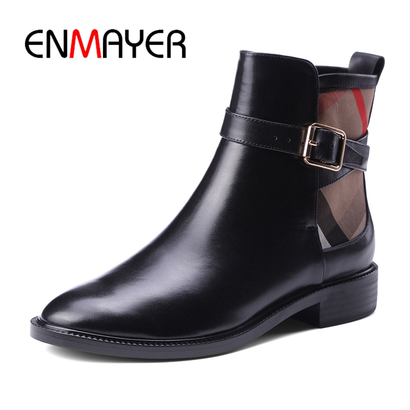 ENMAYER Round Toe Square Heel Ankle Slip On Winter Boots Women Botas Mujer Invierno Size 34