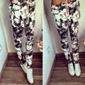 2016 Мода новые горячие женщины брюки сексуальная печати полная длина Случайные Шнурок pantalon femme шаровары женщин
