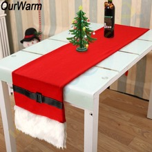 OurWarm Santa Belt Faux Fur Christmas Table Cover 36x183cm Red Runner New Year Decoration for Home Xmas Party Supplies
