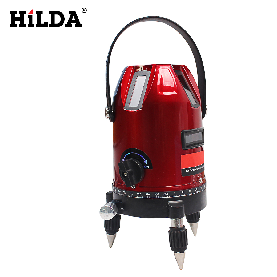 HILDA  6 points 5 lines laser level 360 rotary cross laser line leveling can be used with outdoor receiver 1pc laser cast line machine multifunction laser line cross line laser rotary laser level 360 selfing leveling 5 line 4v1h3 point