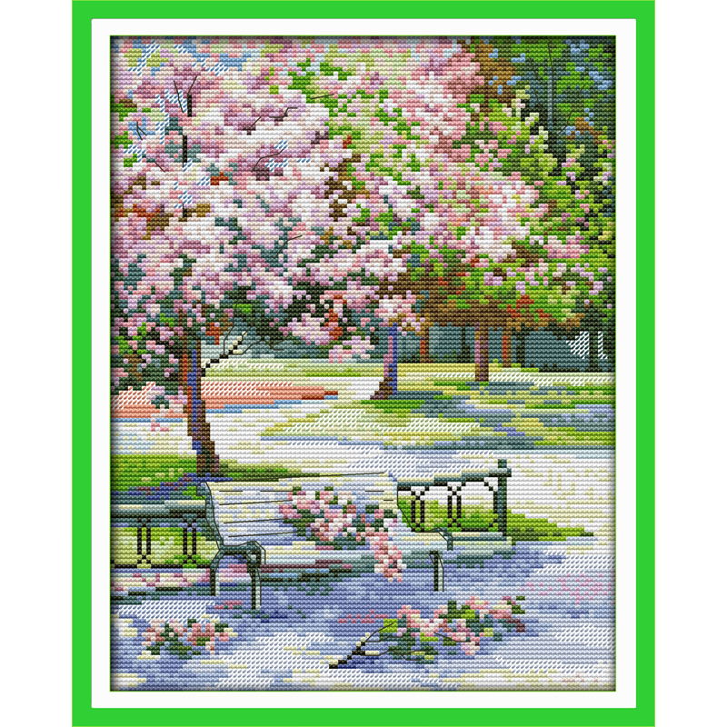 Everlasting love The spring in the park Chinese cross stitch kits Ecological cotton stamped DIY new year decorations for home