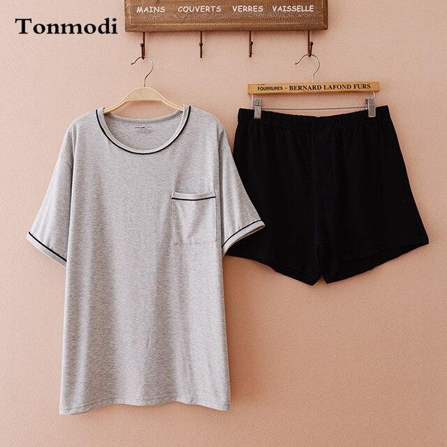Mens pyjamas cotton sleepwear Shorts knitted pullover short-sleeve Men lounge Pajama set
