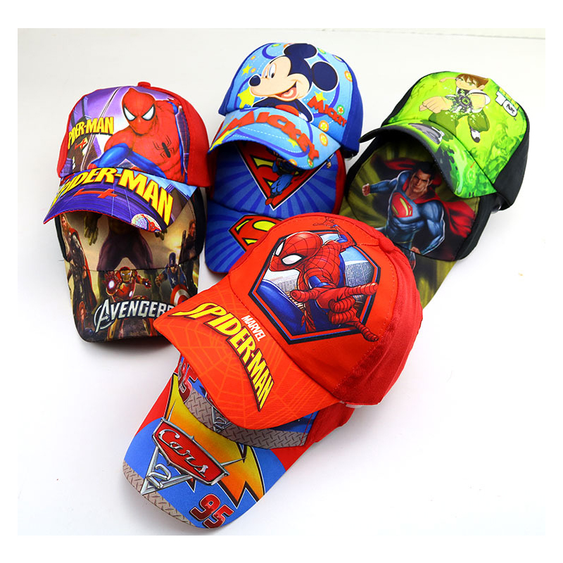 2019 new children's spiderman baseball cap cartoon print boy hat student popular visor baby cool hat