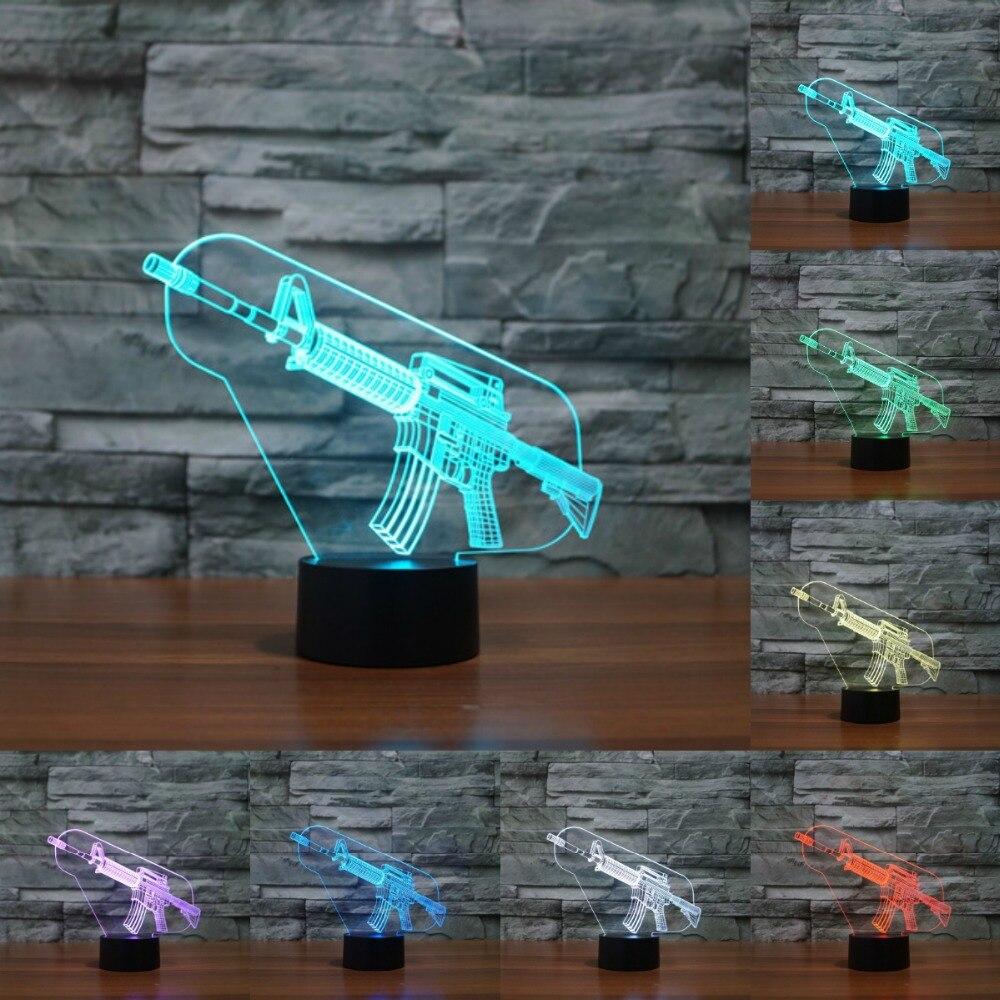 Акрил свет пистолет-пулемет 3D ночь светодиодная лампа USB светодиодный сенсорный датчик 7 Изменение цвета настольные лампы led light для детей ...