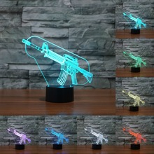 Acrylic light Submachine gun 3d Night Light Led Lamp USB Led touch sensor 7 color change led table lamp Light For Kids IY803460