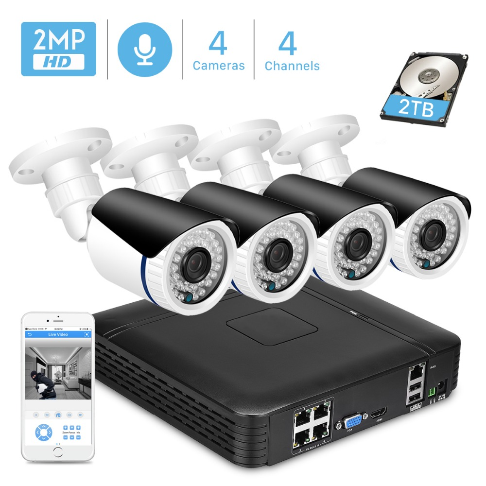 ANBIUX 4CH 1080P POE NVR CCTV Security System 4PCS 2 0MP Audio Record IP Camera IR