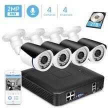 ANBIUX 4CH 1080P POE NVR CCTV система безопасности 4 шт. 2.0MP аудио запись IP камера IR P2P Открытый комплект видеонаблюдения 2 ТБ HDD