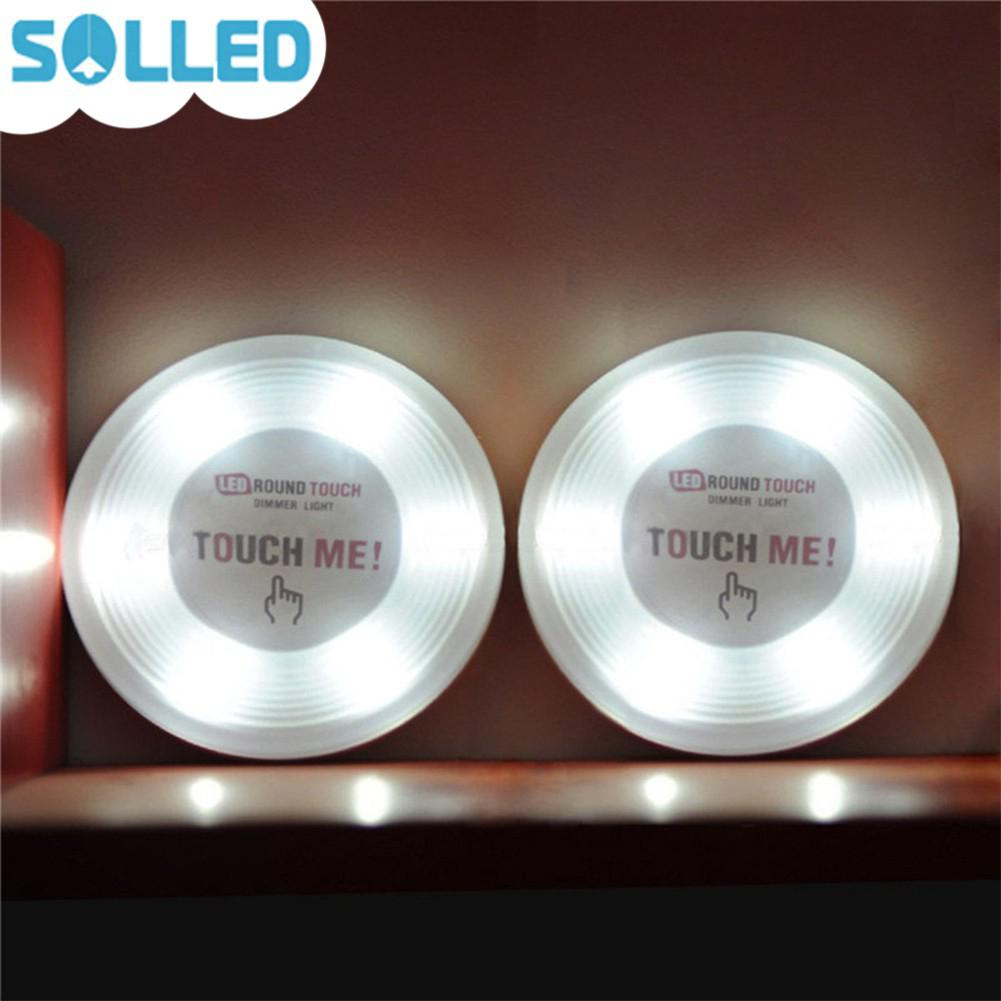 SOLLED Touch-Activated 6-LEDs Tap Touch Dimmer LED Night Light Lamp for Cabinets Closets Kitchen Basement Battery Powered