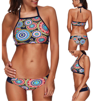 2017 Sexy Women Bikini Set Sports Swimming Wear Summer Beach Floral Wear Halter Bathing Suit High