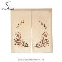 SewCrane Honeycomb Fabric With Floral Leaves Embroidered Design Home Restaurant Door Curtain Noren Doorway Room Divider