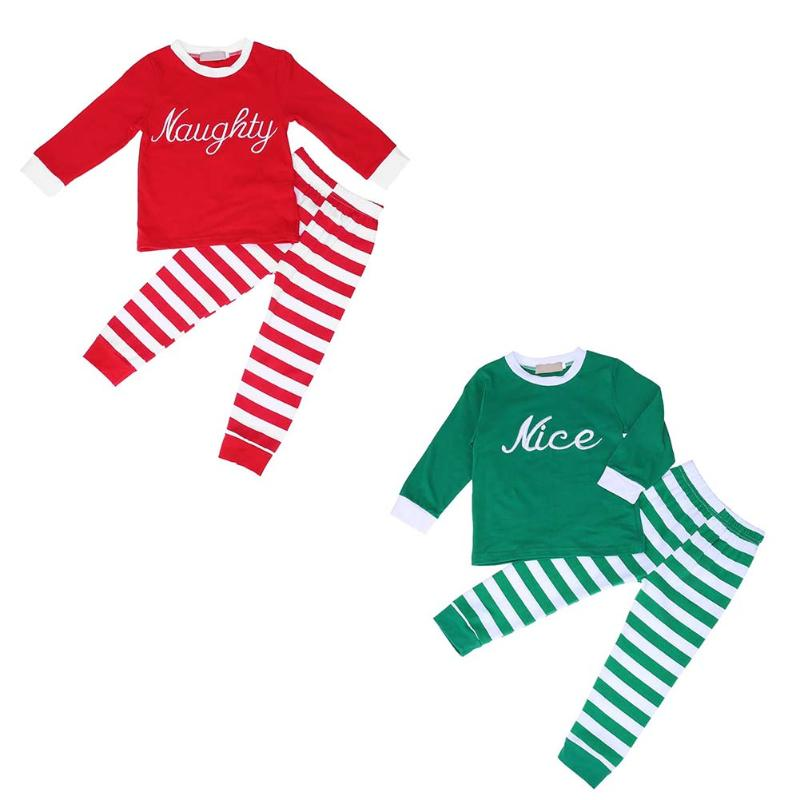 2pcs/Set Christmas Baby Unisex Clothing Set Letters Stripe Long Sleeve T-Shirt+Trousers Home Wear Sleepwear Pajama Cotton Sets