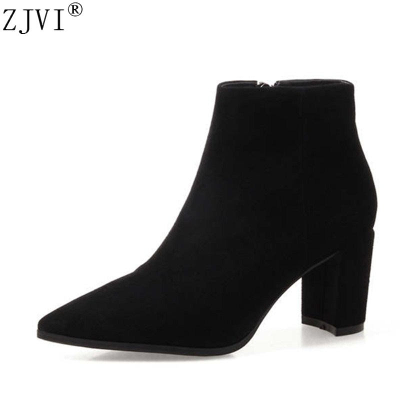 ZJVI Women suede Genuine leather pointed toe Ankle boots womens Autumn winter boots 2018  Woman fashion square high heels shoes brand women autumn winter boots 8 5 cm square heels fashion stretch fabric socks boots woman pointed toe boots for women k 067
