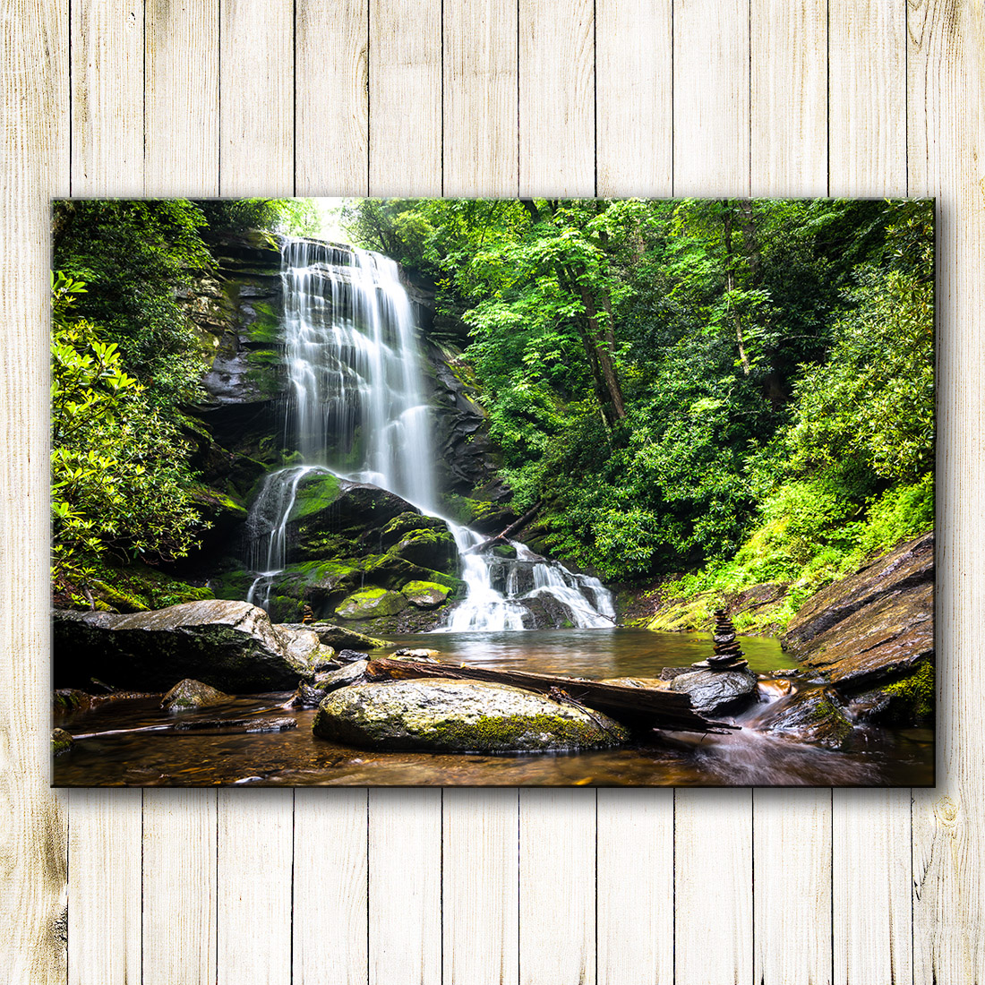 3 Piece Virgin Forest Waterfall Landscape On Canvas Print Home Decoration