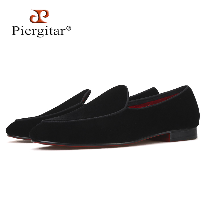 Piergitar brand 2019 Handmade Black colors men velvet shoes Fashion party and wedding men s loafers