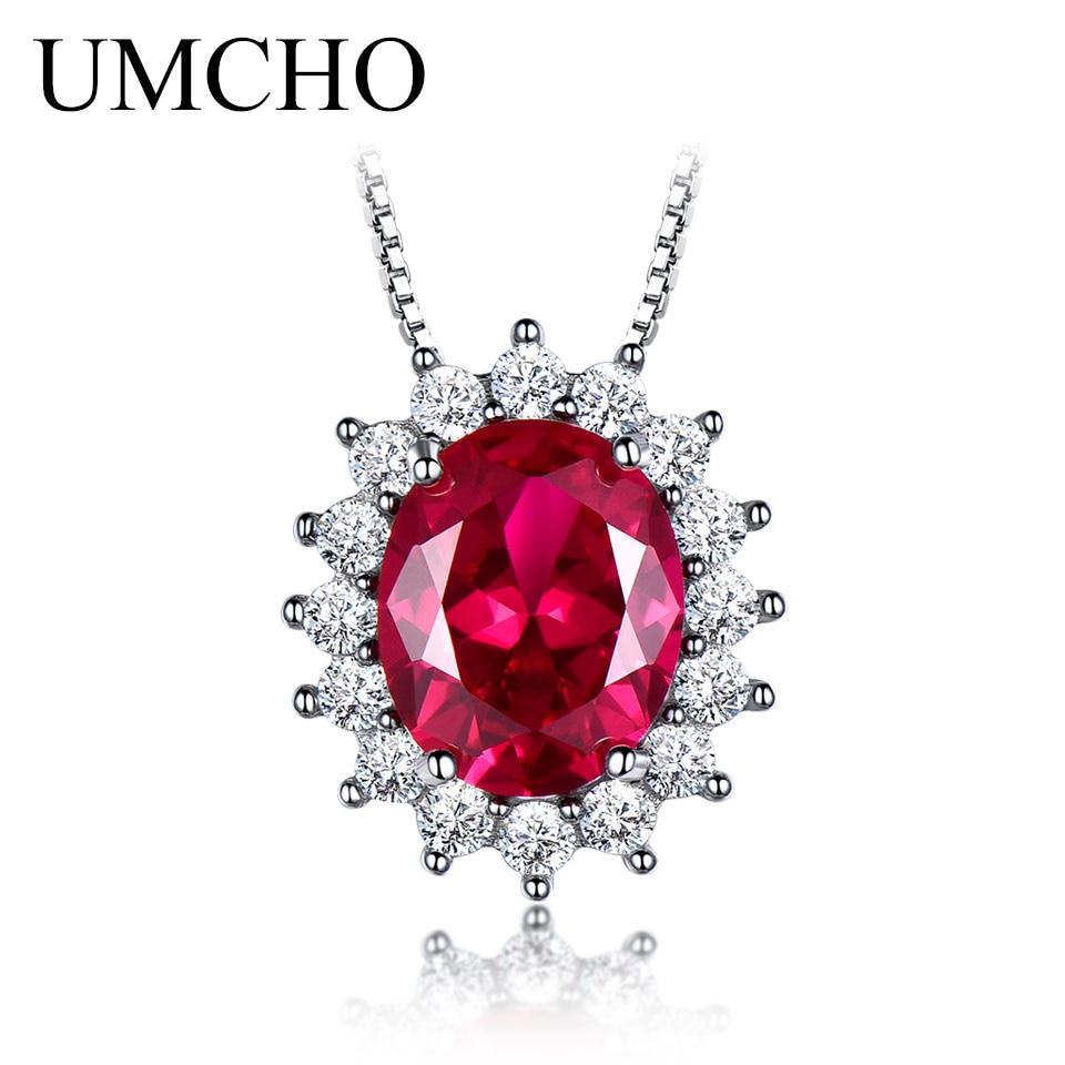 UMCHO 10 * 8mm piedras preciosas nano rubí collares 925 plata esterlina princesa colgante de compromiso collar de boda para mujeres con cadena