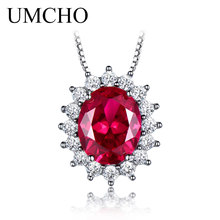 UMCHO 10*8mm Gemstone Nano Ruby Necklaces 925 Sterling Silver Princess Pendant Engagement Wedding Necklace For Women With Chain
