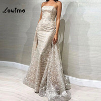 Elegant Shiny Silver Women Arabic Evening Dresses 2018 With Detachable Train Wedding Party Dress Glitter Arabic Prom Dresses