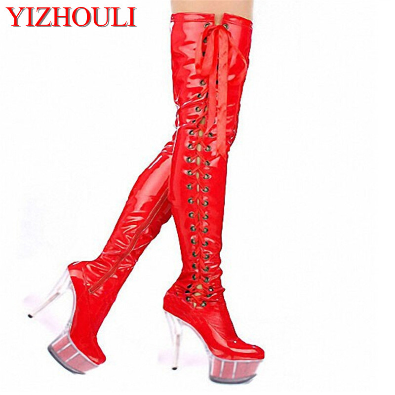 15cm high-heeled shoes crystal cutout boots over-the-knee platform boots Thigh High 6 inch lady strappy pole dancing boots