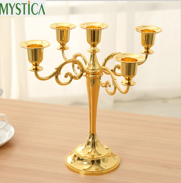 Metal Silver/Gold/Bronze Candle Holder 5 3 arms Candle Stand Wedding ...