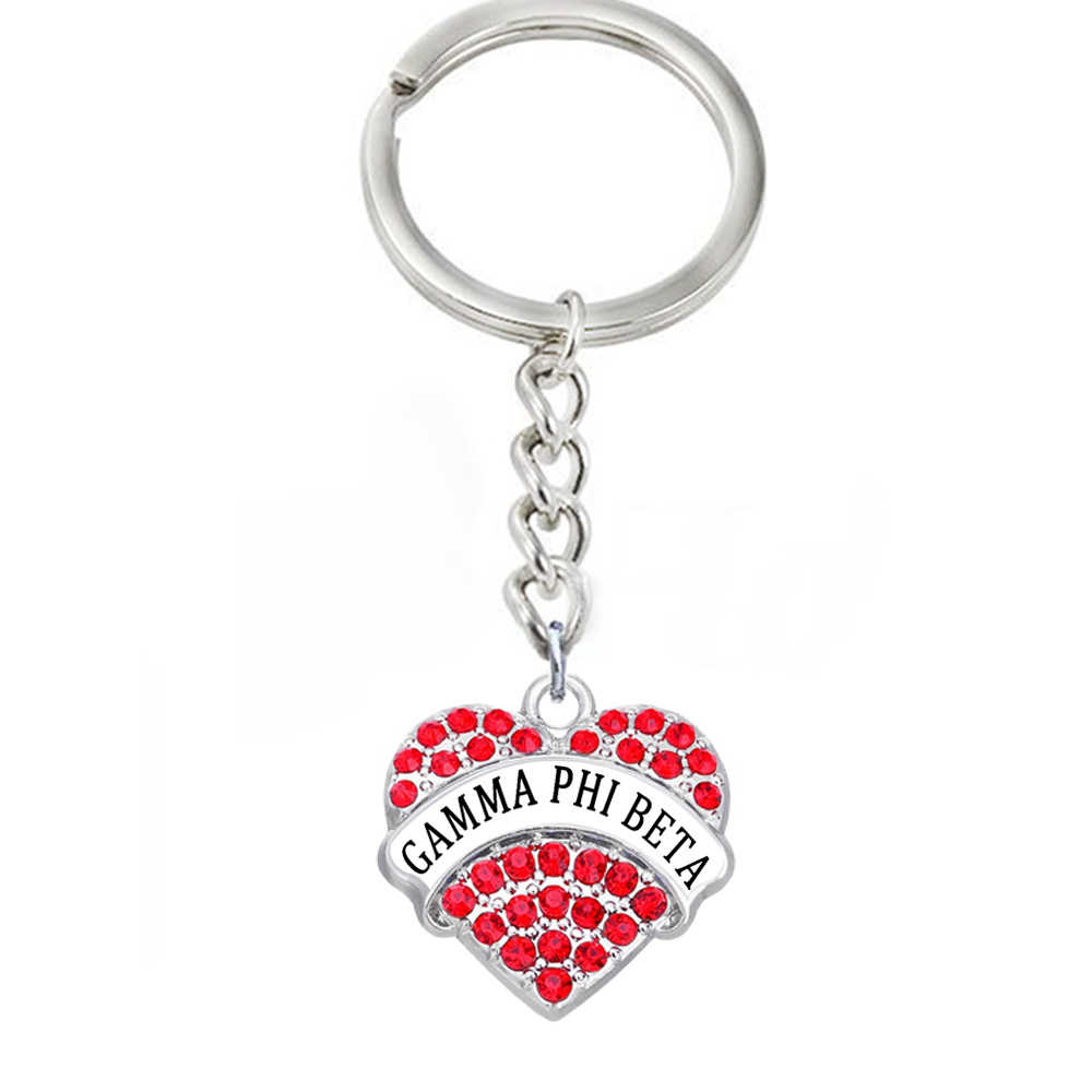 a4de3f05 Rhinestone Crystal Inlay Heart Metal Pendant Keychain GAMMA PHI BETA Sticker  Label Charm Keychain For University sorority Gift-in Key Chains from  Jewelry ...