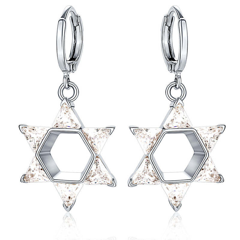 BRZHA Brand 2017 New Crystal Star Womens Silver plated Earrings Cubic Zirconia Necklace Jewish Jewelery