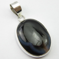 SOLID SILVER BOTSWANA Agates Pendant 1.7 ! Jewelry Store
