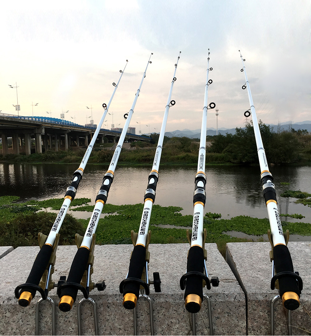 Carp Fishing, Rod feeder Hard FRP Carbon Fiber Telescopic Fishing Rod fishing pole 2.1M -3.6M 14