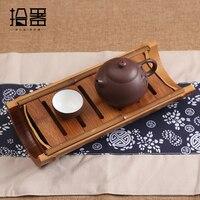 Chinese Handmade Bamboo Tea Tray Tea Table Wooden Puer Kung Fu Tea Set Storage Box Plate