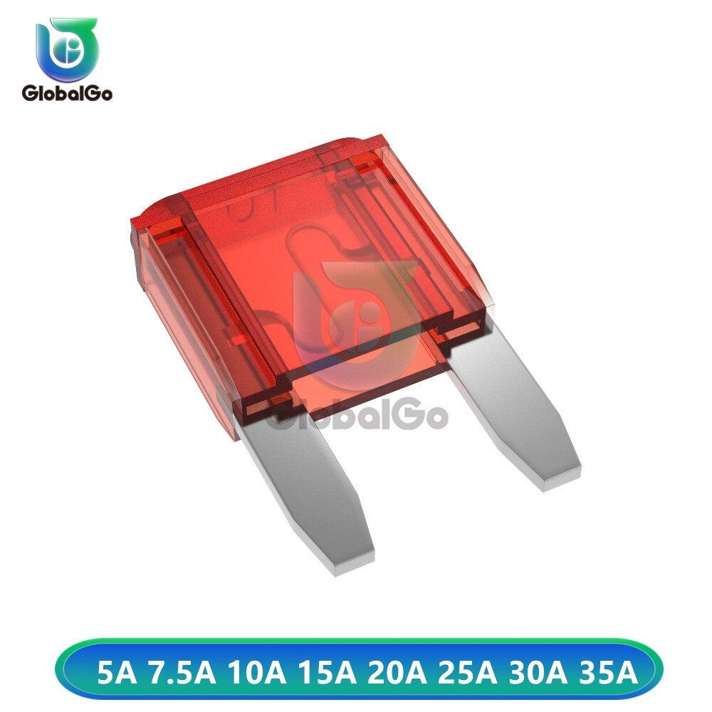 10 шт./лот, без рамки, с изображением маленькой машины лезвие предохранителя 1,1*1,7*0,4 см 5A 7.5A 10A 15A 20A 25A 30A 35A AMP для авто грузовик