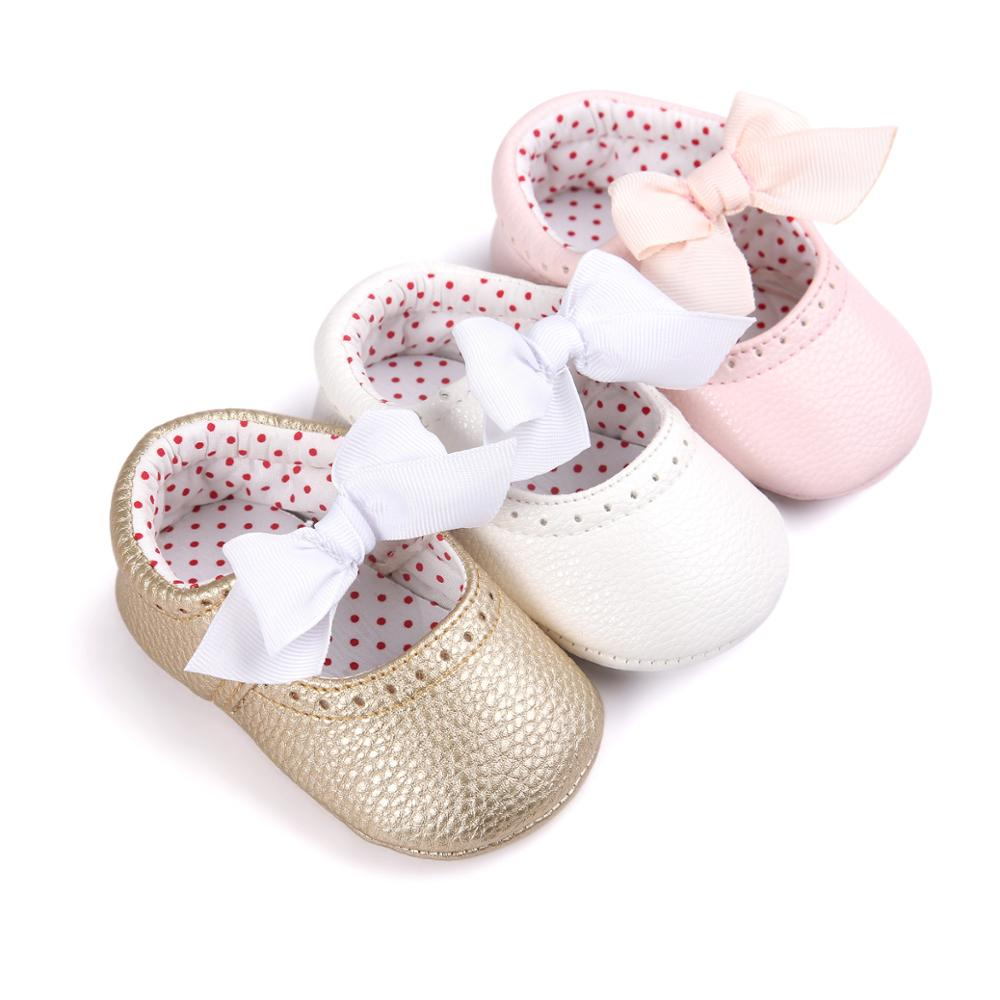 2019 Baby Shoes Newborn Baby Girls Girls PU Leather Bow Moccasins Sequin Anti-slip Soft Sole First Walkers Baby Shoes 0-18M