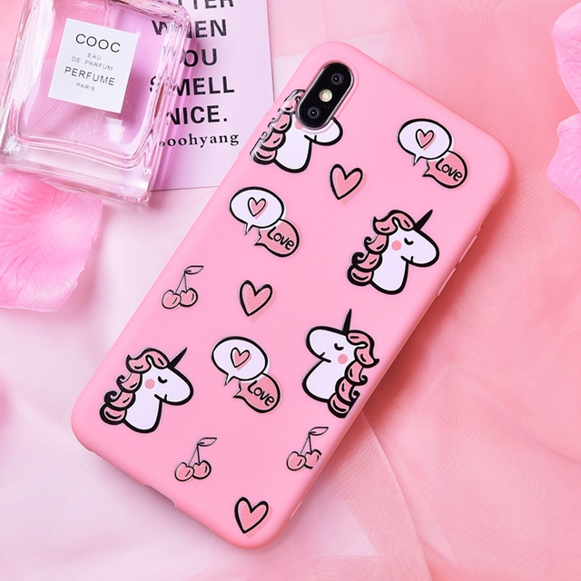 Pink Unicorn Printed Soft Silicone Phone Case