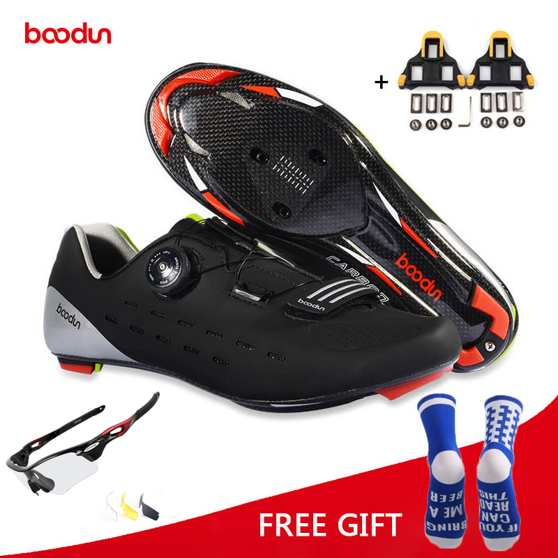 Boodun Ultralight Carbon Fiber Road Cycling Shoes Breathable Auto Lock Bike Bicycle Shoes Athletic Racing Zapatos Ciclismo