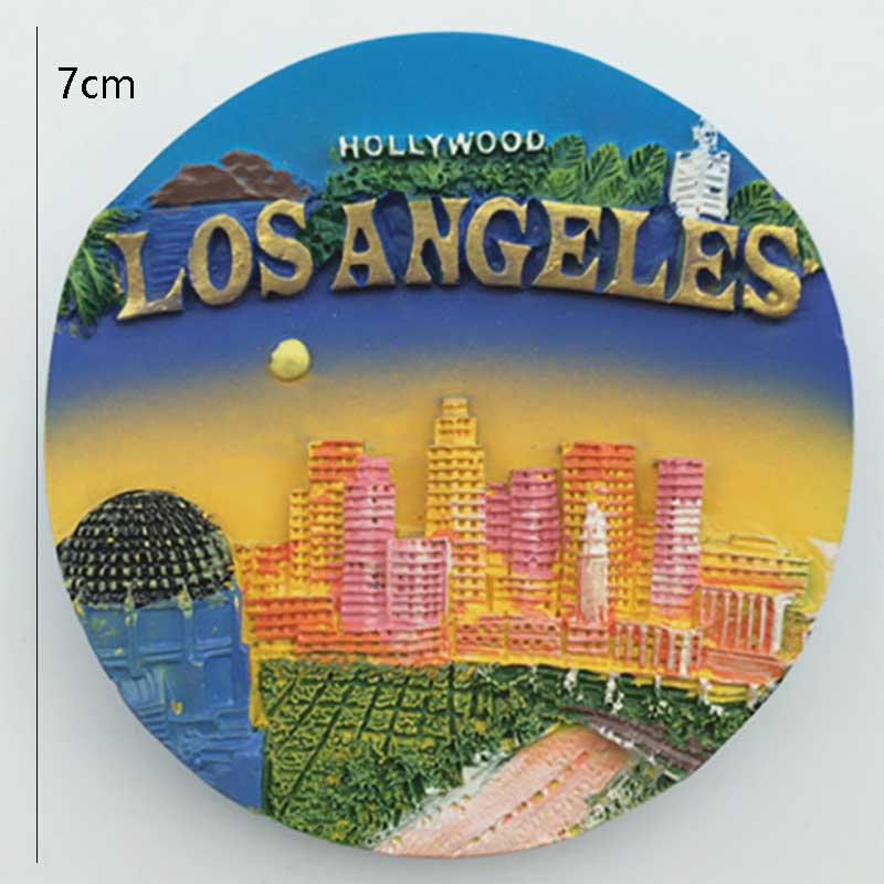 1 Pcs Creative New York Los Angeles Fridge Magnets USA Tourist Souvenir 3D Handmade Refrigerator Magnetic Sticker Gift Crafts image