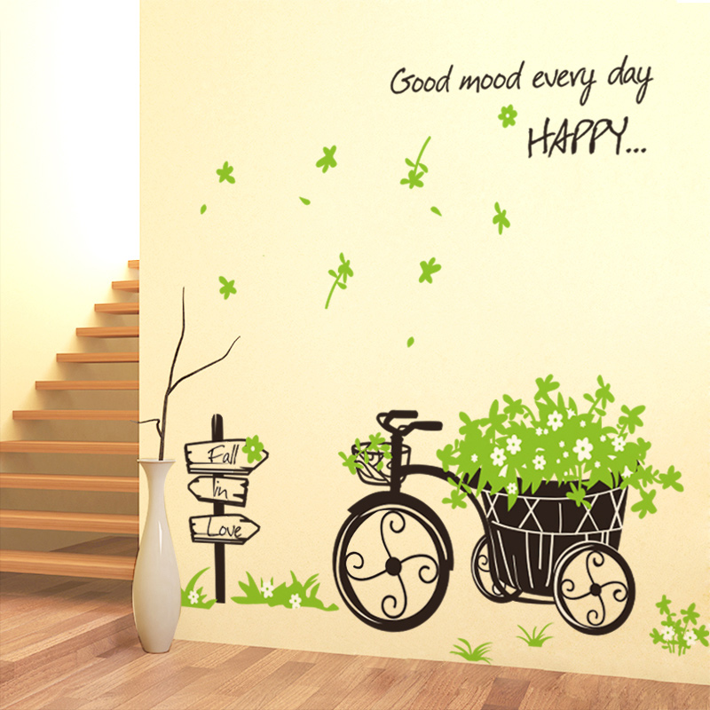 Weed Wall Stickers Flower Grass Car Tricycle Pattern Sofa Mural ...