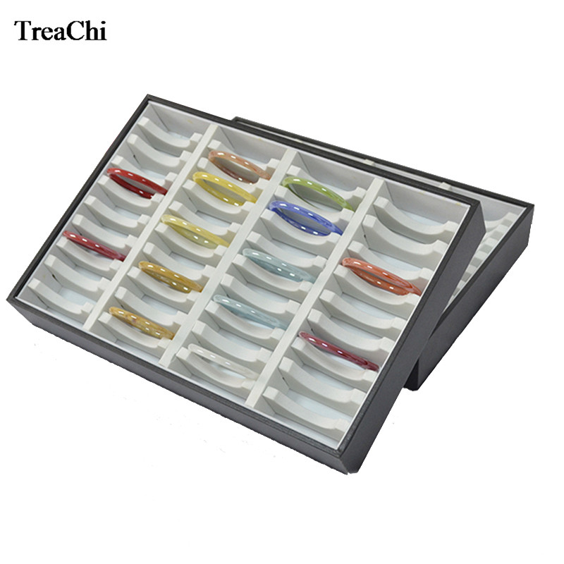 New 40 Slots Jewelry Display Case Leatherette Compartments Bracelet Jade Bangle Jewelry Storage Organizer Holder Tray