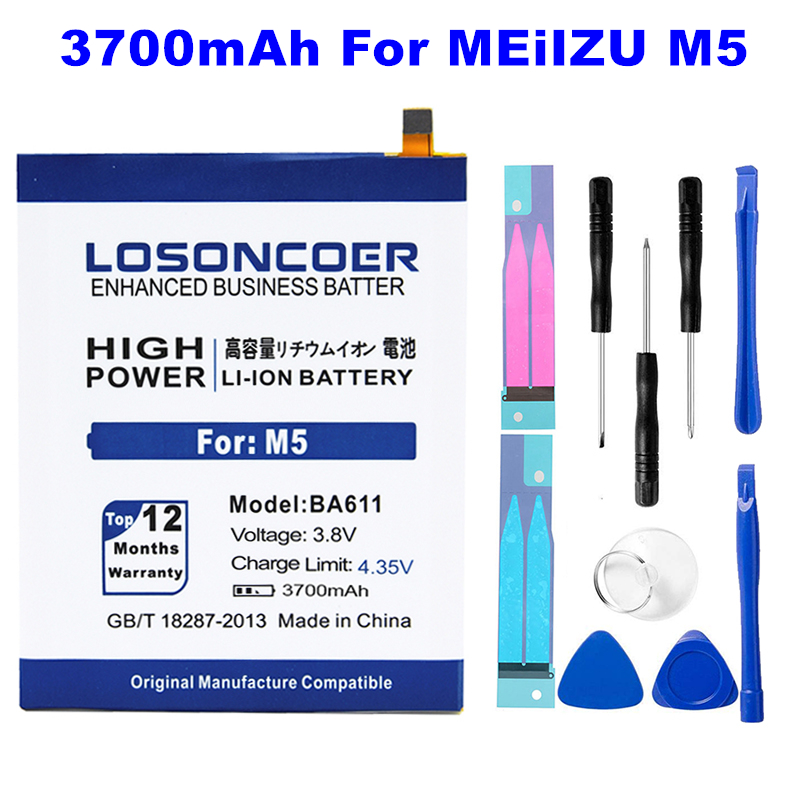Hard-Working Losoncoer Ba611 3700mah High Capacity Battery For Meizu M5 Meizy Meilan 5 Mobile Phone Batteries ~in Stock stickers gift Tools